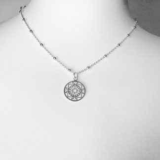 """Sterling Silver Round Filigree Necklace on Bobble Chain. Available on an 18"""" chain"""