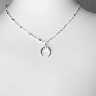 "Sterling Silver Small Horn Necklace on Bobble Chain. Available on 18"" chain only"