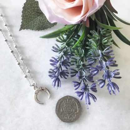 Sterling Silver Small Horn Necklace on Bobble Chain to scale