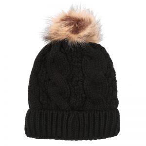 Sophia Black Bobble Hat