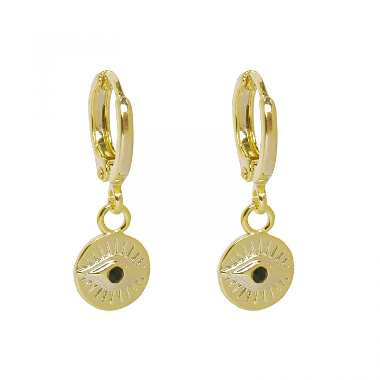 Evil Eye Earrings Gold Plated. Also available in Silver Plate