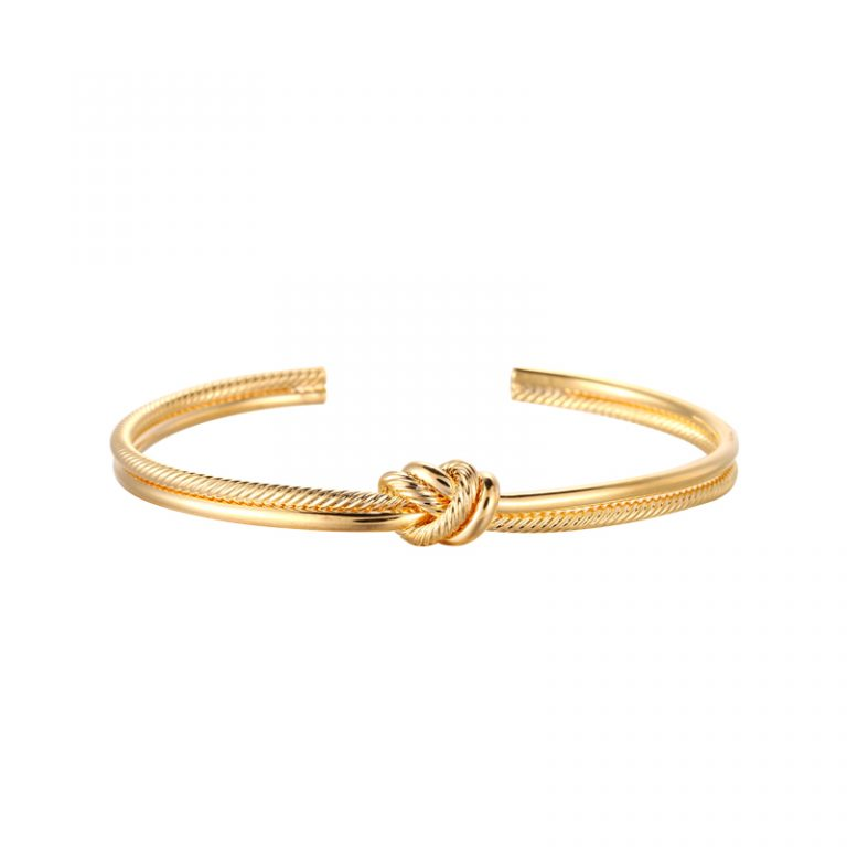 Knot Bangle Gold Plated. Also available in Silver Plate