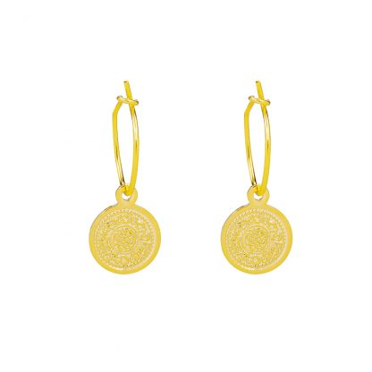 Lucky Coin Earrings Gold Plated. Also available in Silver Plated