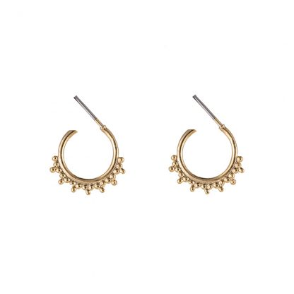 Mini Astrid Beaded Hoop Earrings Gold Plate. Also available in Silver Plate