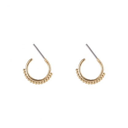 Mini Beaded Hoop Earrings Gold Plated. Also available in Silver Plate