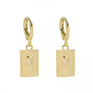 Rose Earrings Gold Plated. Also available in Silver Plate