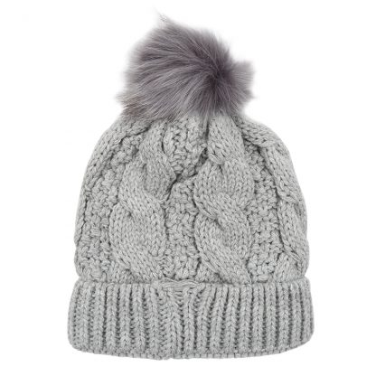 Grey Chunky Knit Bobble Hat with Faux Fur Pom Pom. Also available in Pink, Black, White and Red