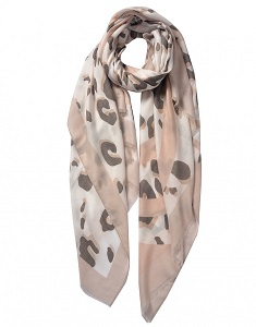 Wisteria London Leo Leopard Print Scarf. Available in Beige and Coral Pink
