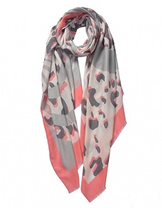Wisteria London Leo Leopard Print Scarf. Also available in Beige