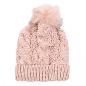 Pink Chunky Knit Bobble Hat with Faux Fur Pom Pom. Also available in Grey, Black, Red and White
