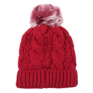 Sophia Red Bobble Hat