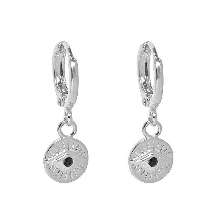 Evil Eye Earrings Silver Plated. Also available in Gold Plate