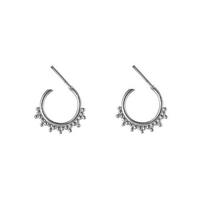 Mini Astrid Beaded Hoop Earrings Silver Plate. Also available in Gold Plate