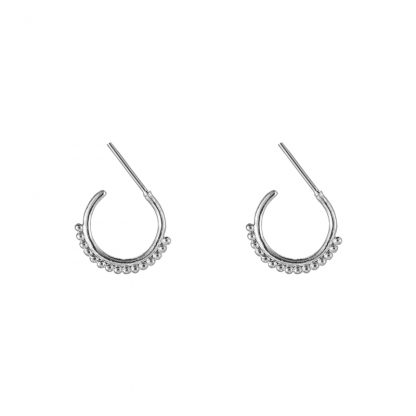 Mini Beaded Hoop Earrngs Silver Plated. Also available in Gold Plate