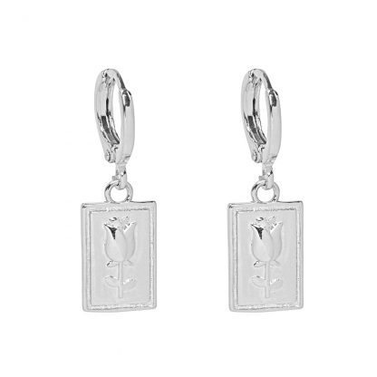 Rose Earrings Silver Plated. Also available in Gold Plate