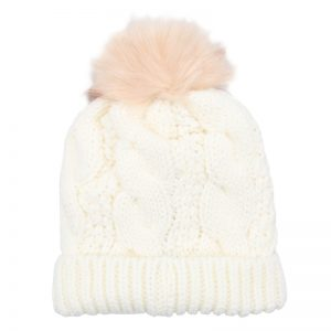 White Chunky Knit Bobble Hat with Faux Fur Pom Pom. Also available in Pink, Grey, Red and Black