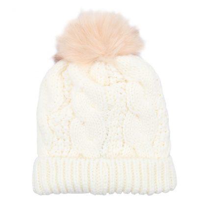 Sophia White Bobble Hat
