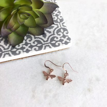 18k Rose Gold Plated Sterling Silver Bee Earrings