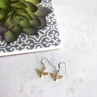 24k Gold Plated Sterling Silver Bee Earrings