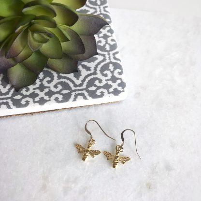 24k Gold Plated Sterling Silver Bee Earrings