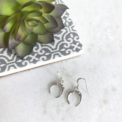 Sterling Silver Small Horn Earrings