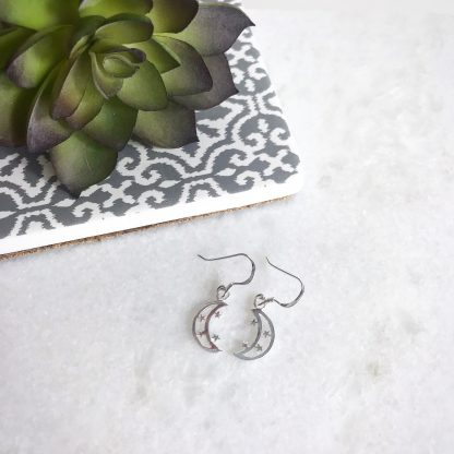 Sterling Silver Moon and Star Earrings