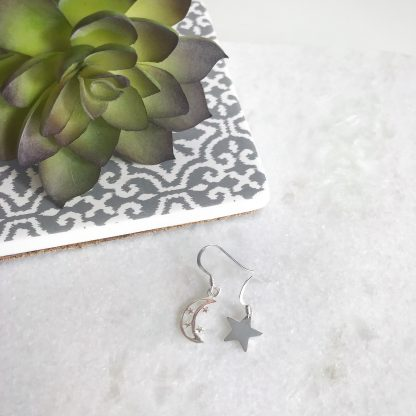 Sterling Silver Moon and Star Mismatched Earrings