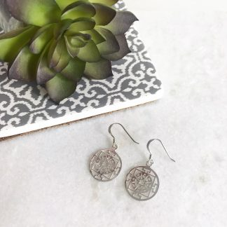 Sterling Silver Round Filigree Earrings