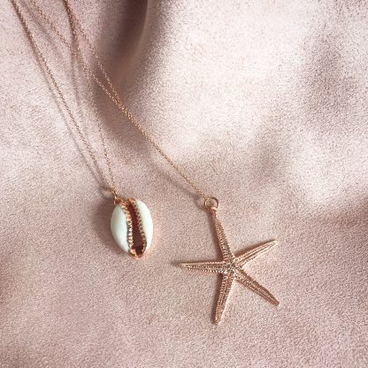 Helen Gold Cowrie Shell Necklace and Isla Gold Starfish Necklace