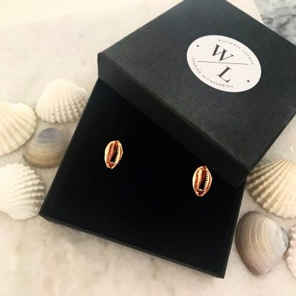 Rose Gold Cwrie Shell Stud Earrings