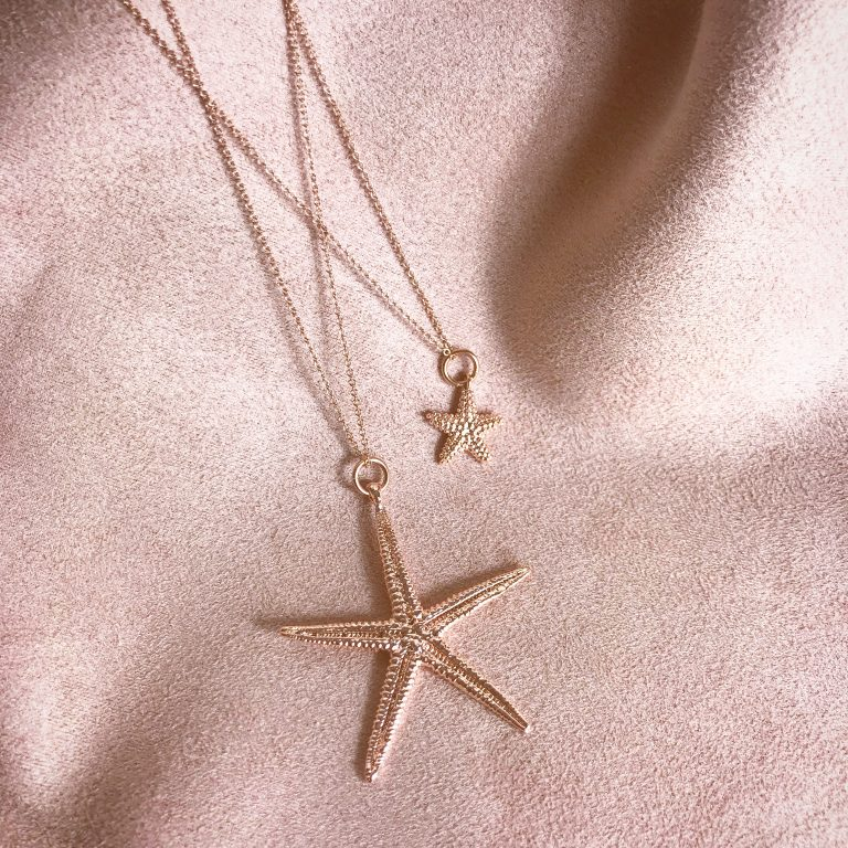Cordelia Rose Gold Starfish Necklace and Isla Small Rose Gold Starfish Necklace