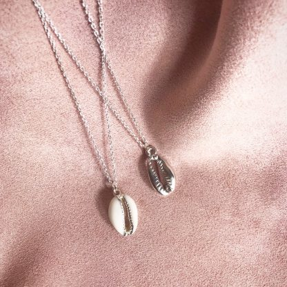Marina Silver Cowrie Shell Necklace and Helen Silver Cowrie Shell Necklace