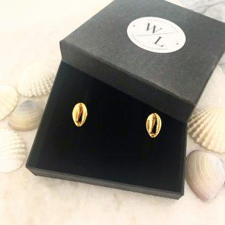 Gold Cowrie Shell Stud Earrings