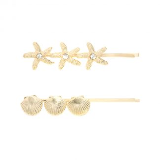 Ariel Gold Shell Hair Slides