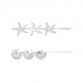 Ariel Silver Shell Hair Slides