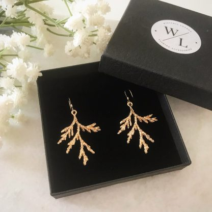 Gold Branch Drop Earrings