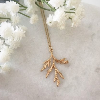 Gold Frosted Branch Necklace
