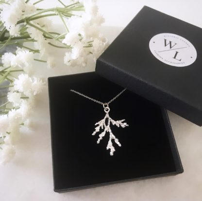 Silver Frosted Branch Necklace