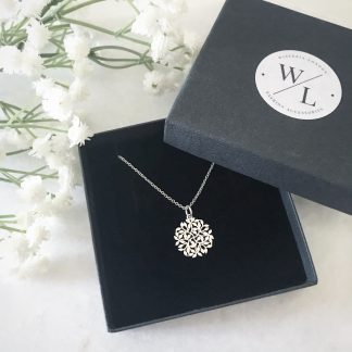 Entwined Sterling Silver Leaf Necklace