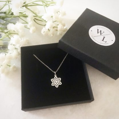 Silver Blossom Flower Necklace