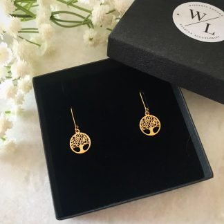 Tree of Life Gold Drop Earrings