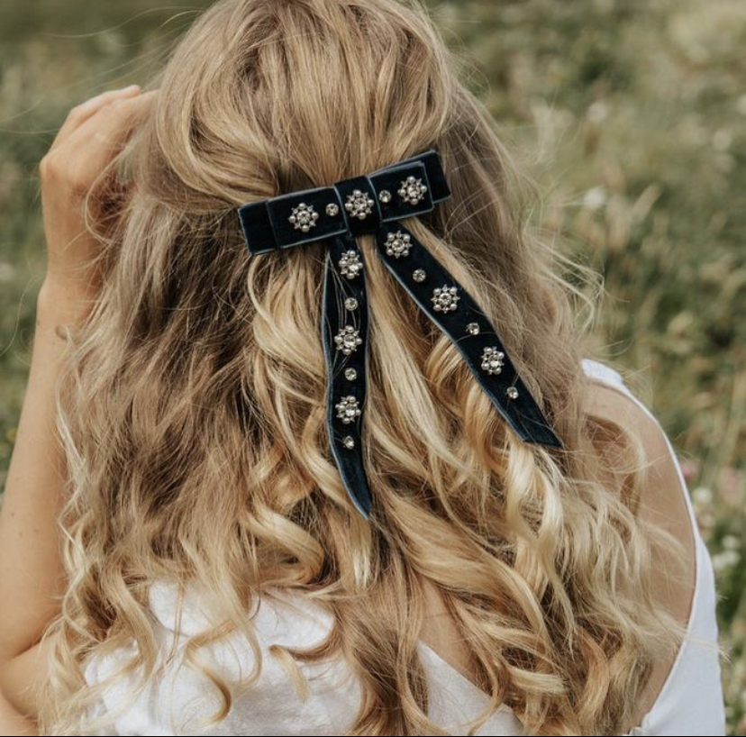 Embellished Bow Hair Clip