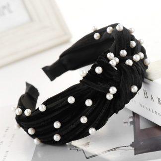 Angelique Black Pearl Knot Headband