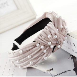 Angelique Pink Pearl Knot Headband