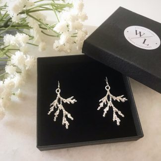 Silver Frosted Branch Earrings