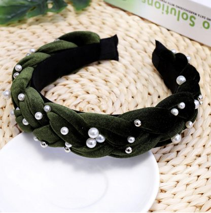 Charlotte Green Braided Pearl Headband