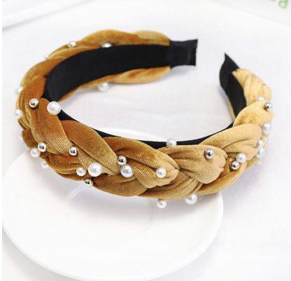 Charlotte Mustard Braided Pearl Headband