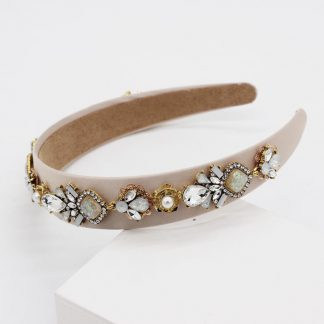 Esme Beige Jewel Embellished Headband