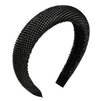 Estrella Black Padded Rhinestone Headband