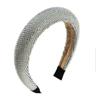 Estrella Silver Padded Rhinestone Headband